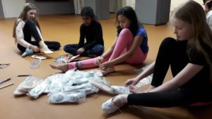 Trying on ballet shoes at FISTA